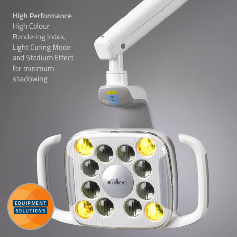 A-dec 500 LED Light offers a high color rendering index (CRI) of 94 mimics sunlight's clarity and floods the oral cavity with light that reflects colors accurately for soft and hard tissue diagnosis