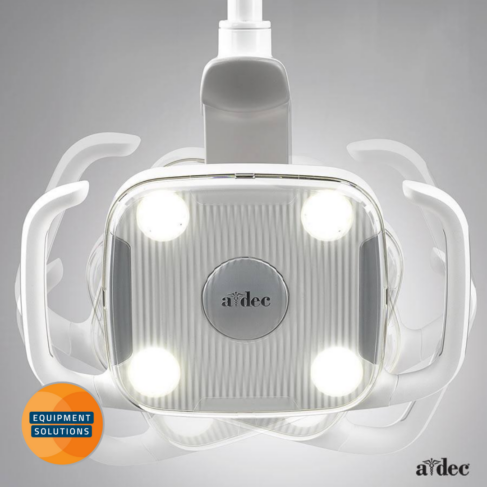 A-dec have a range of LED Dental operating lights and this is the A-dec 300 Light.