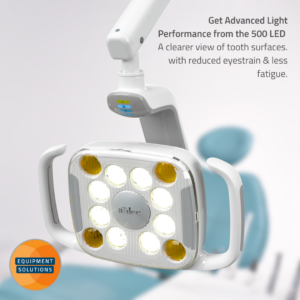 A-dec 500 LED Light uses about 1/5th the power of a traditional quartz halogen light with a life expectancy of up to 40,000 hours, or nearly 20 years of daily use.