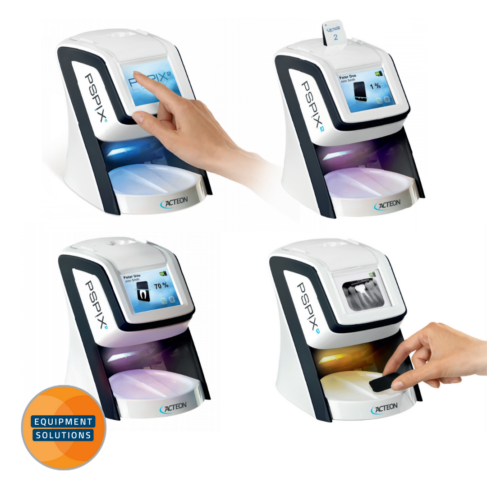 The Acteon PSpix Image plate scanner has light to guide the units status