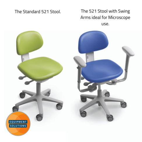 The A-dec 521 dental stool comes with or without armrests