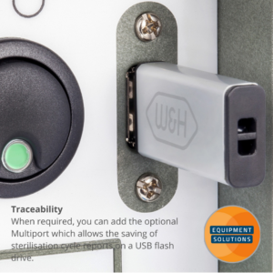 W&H Lina autoclave offers an option of a USB for documentation and traceability.