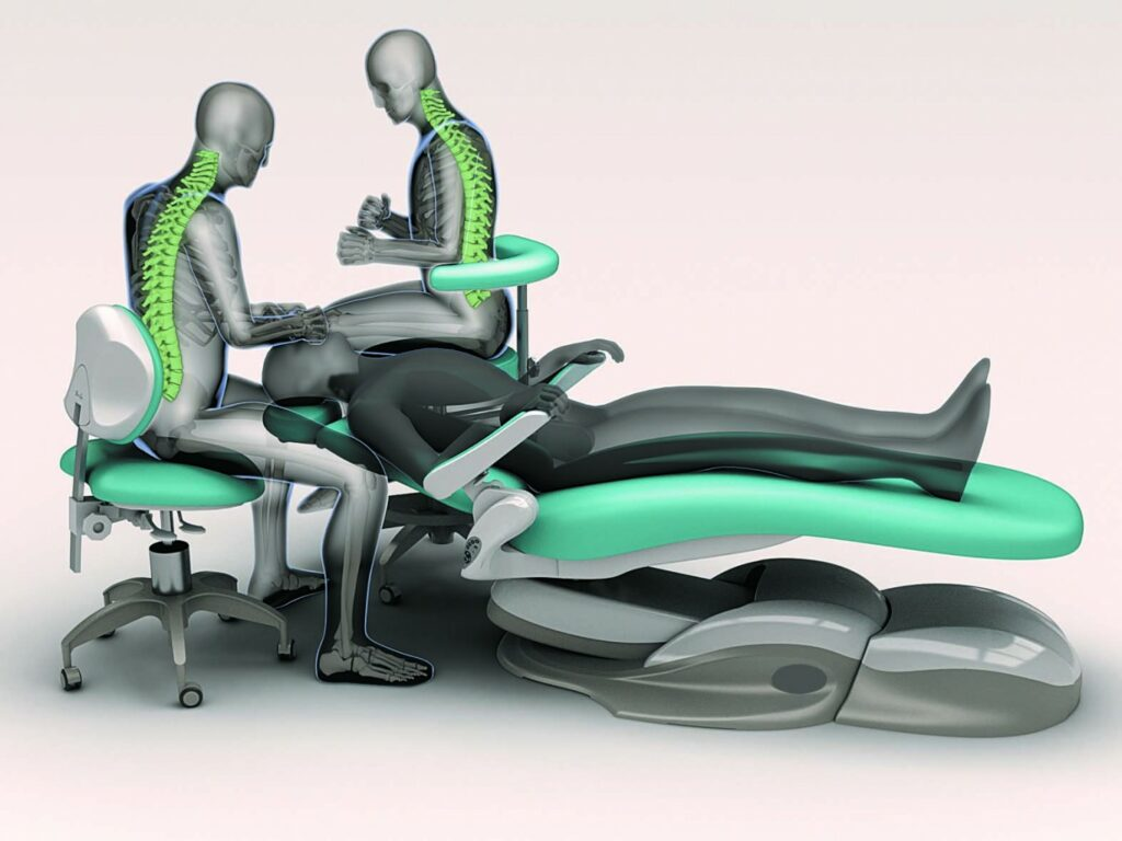 Positioning and posture of dentist and nurse around the dental chair