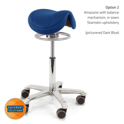 Score Amazone Saddle Stool with the narrow seat and the balance mechansim moves subtly with your movements