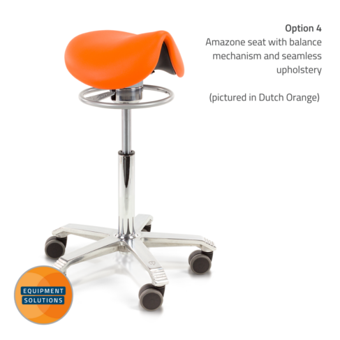 Score Amazone Saddle Stool with seamless upholstery and balance.