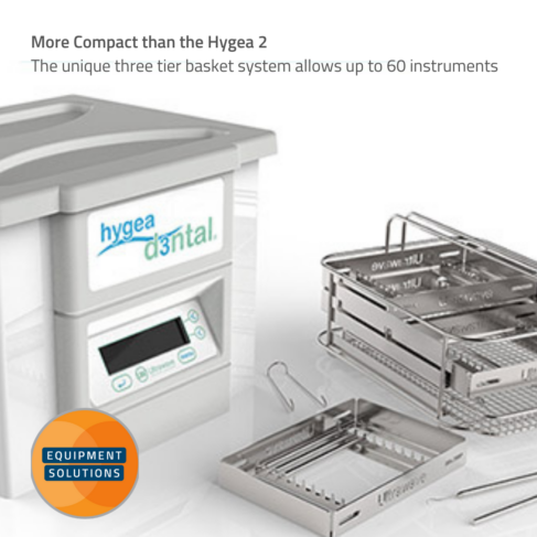 Hygea Ultrasonic Bath is more compact than the Hygea 2 but still holds up to 60 instruments.