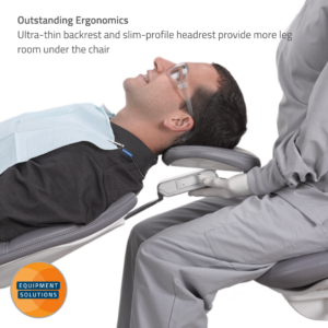 A-dec 500 Dental Chair with its ultra-thin flexible backrest and double articulating headrest