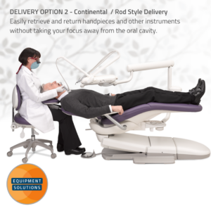 A-dec 500 Dental Chair offers a ergonomic continental style delivery
