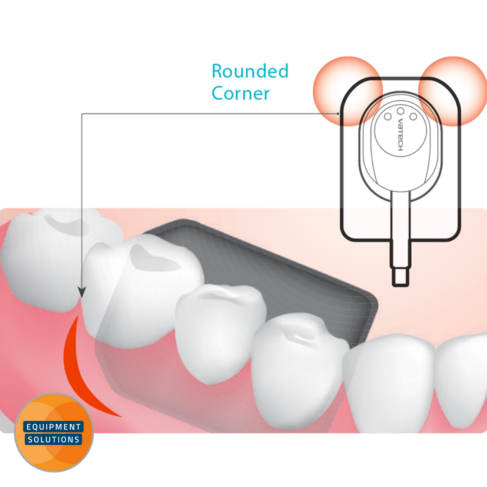 Vatech HD X-ray Sensor offers has rounded corner to support positioning and comfort