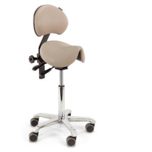 Score Amazone Saddle Stool with Backrest in Taupe seamless upholstery