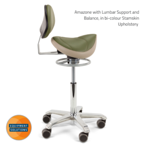 Score Amazone Saddle with Backrest with balance mechanism and in bi-colour upholstery