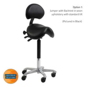 core Jumper Saddle Stool with Backrest featured with standard tilt in back sewn upholstery