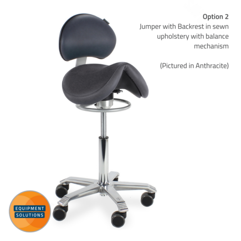 Score Jumper Saddle Stool with backrest in anthracite sewn upholstery