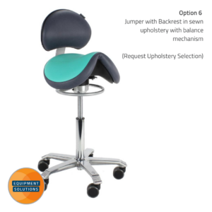 Score Jumper Saddle Stool with backrest in the bi-colour option