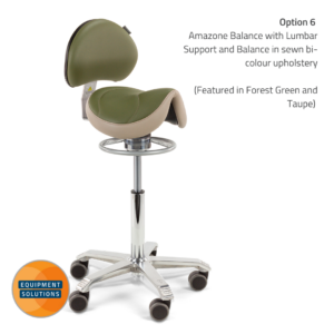 Score Amazone Saddle Stool with Backrest and balance mechanism in a bi-colour upholstery