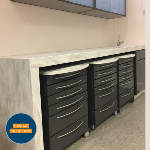 Dental Mobile Cabinets are parked in a deep corian top top with end cupboard
