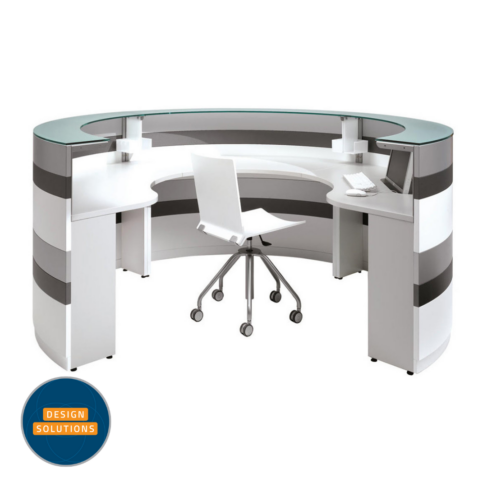 The Twist Reception Desk using two curved modular sections
