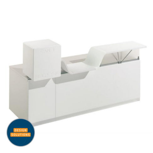 The 'Can I help you' Reception Desk is a modular unit
