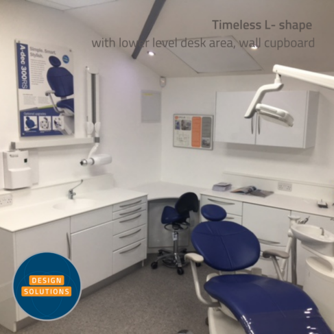 Traditional L Shaped Dental Cabinetry with wall cupboard included