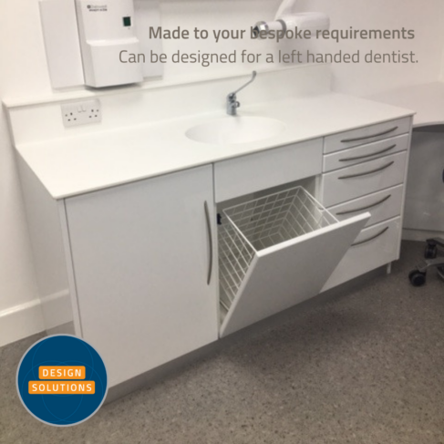 Traditional L Shaped Dental Cabinetry with integration such as bin, glove and cup storage