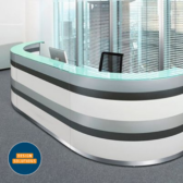 The Twist Reception Desk using two curved sections and a straight modular piece
