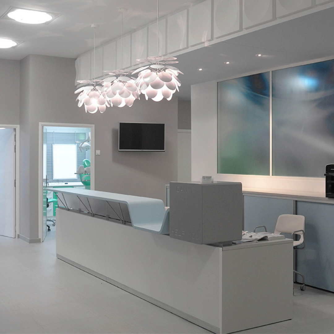 The 'Can I help you' Reception Desk in grey and white