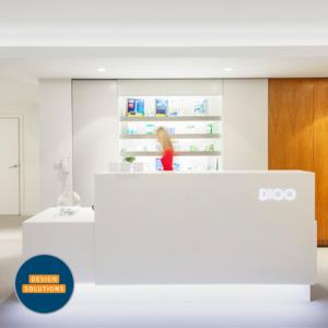 Bespoke Dental Reception Desk in a squat practice in the Barbicanogo