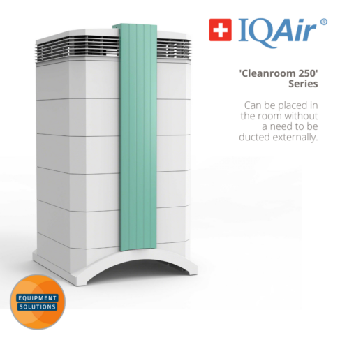 Cleanroom 250 IQAir Air Purifier stands in the corner of a surgery or reception
