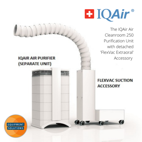 Cleanroom 250 IQAir Air Purifier has the option of the Flex Vac system for further extraction at chairside