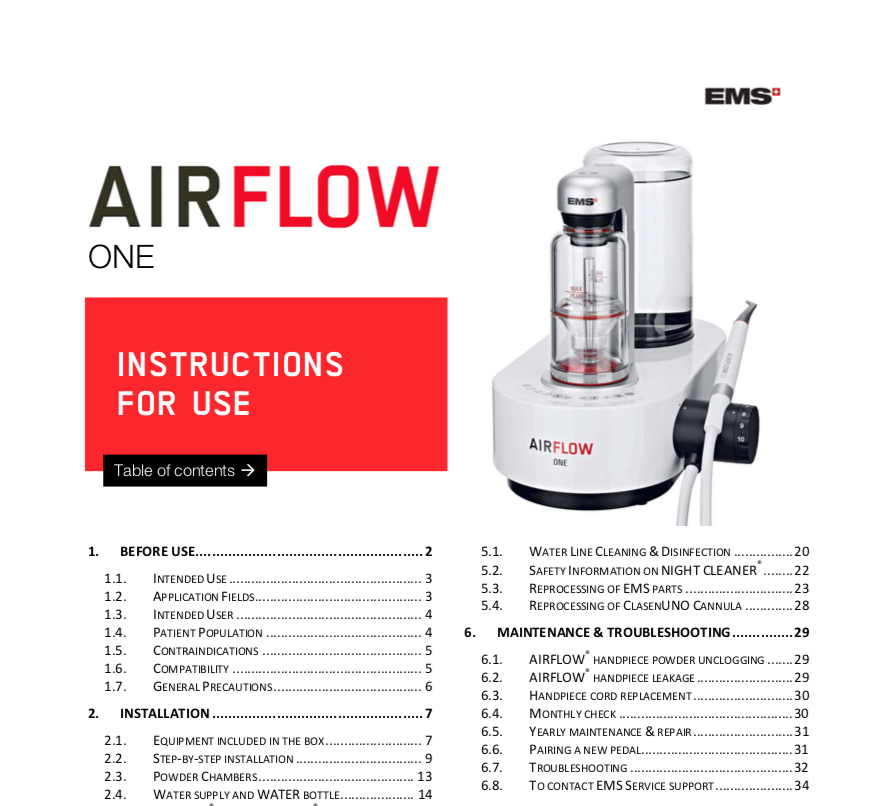 EMS Airflow One Instructions For Use